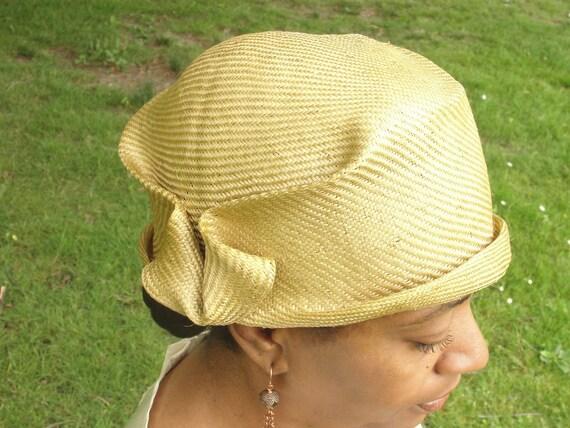 Parasisal Straw Hats- New Hand Blocked-1920's Light Bronze Vintage Inspired Cloche- Flapper--Custom Order  Only