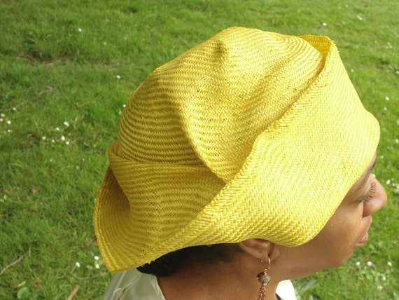1920's Flapper Style-Parasisal Straw Hats- New Hand Blocked--Summer Straw Hat- Asymmetrical Yellow Hat-Custom Order