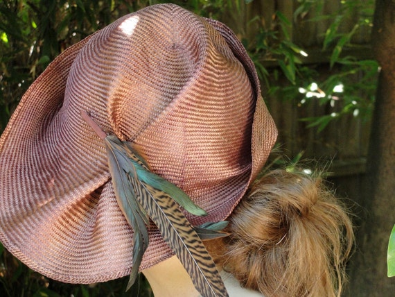 Straw Hats- Asymmetrical Copper Hat-New Hand Blocked- Vintage Inspired Hat w/Brim- 1920's through 40's Influence- Custom Only