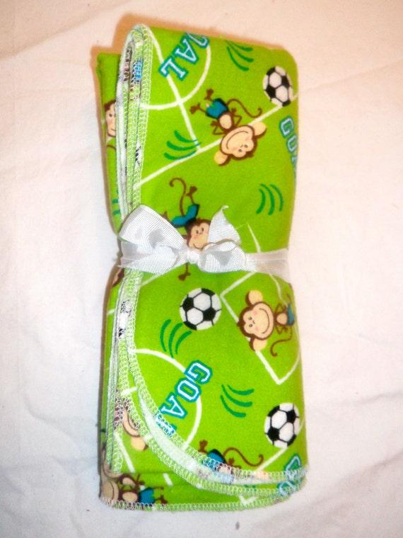 Large Flannel Receiving Blanket - Soccer Monkeys