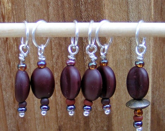 """Stitch Markers """"Coffee Beans""""  Set of 6"""