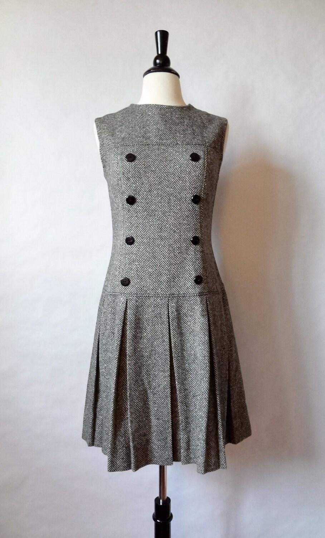 60s Mod Dress Herringbone Tweed Jumper Drop Waist Scooter
