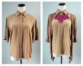 Camel / Beige Color Silk Shirt - Tailored Shirt - Short Sleeved Shirt - Spring Shirt - Pocket Shirt S M (2-4-6)