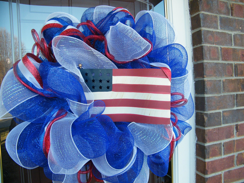 Fourth Of July Mesh Wreath