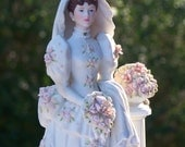 Gorgeous Victorian-looking Bride for Cake Topper, Centerpiece for Gift Table or Food Table, Bridal Shower - Off White, Pink and Pearls
