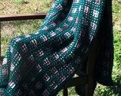 Reserved for Antionette-Handmade Knitted Afghan /  Winter Warmer / Hunter Green  / White / Rose / Burghandy / Accent Piece