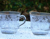 Vintage Open Sugar and Creamer with  Gold Trim and Etched Grapes and Leaves
