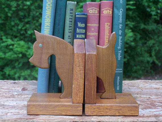 Vintage Handmade, Wooden Bookends - for Scottie, Schnauzer or Dog Lovers in General