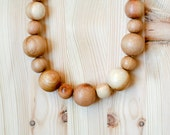 Vegan nursing necklace  All natural jewelry Juniper wood beaded necklace cream beige brown color