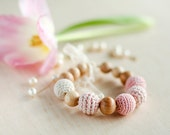 Crochet Teething Nursing bracelet with vintage lace in spring bloom blossom Baby pale pink and Cream white
