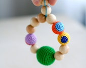 Teething ring - Natural wooden crochet teether teething toy nursing polka dot bright rainbow colorful toy for new baby
