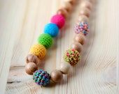 Nursing necklace for mom natural Teething colorful necklace Eco-friendly jewelry Mother's Day  gift for her under 20
