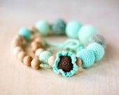 Nursing necklace - All natural  necklace Boho chic crochet necklace   Breastfeeding necklace - in mint green and chocolate brown
