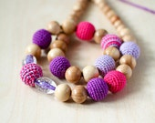 Teething necklace, Teething toy, Nursing necklace - crochet bead mom teething beads - in Hot pink, Lilac and Purple
