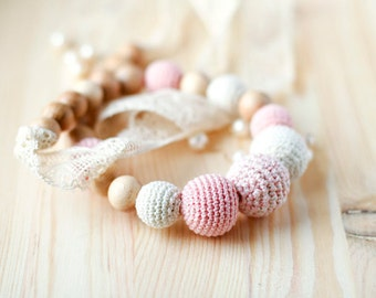 Crochet organic cotton teething romantic Nursing necklace with vintage lace pale pink and Ecru Mothers day gift for her under 50