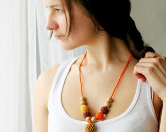 Nursing necklace - Organic Teething necklace - crochet cotton nursing pendant - in orange, sunny yellow and brown