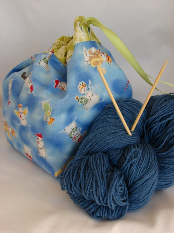 Knitting Project Bags For Sale : Sale small drawstring sock knitting project bag
