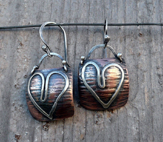 Dangle, Drop Heart Earrings, Textured Copper, Sterling Silver