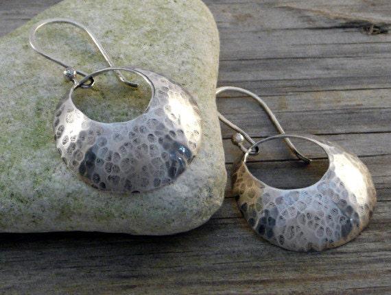 Dangle Earrings, Hoop Earings, Classic Minimalist Stlye, Textured Domed Discs, Sterling Silver