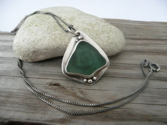 Pendant Necklace, Adriatic Beach Glass, Sterling Silver, Box Chain, Summer Style