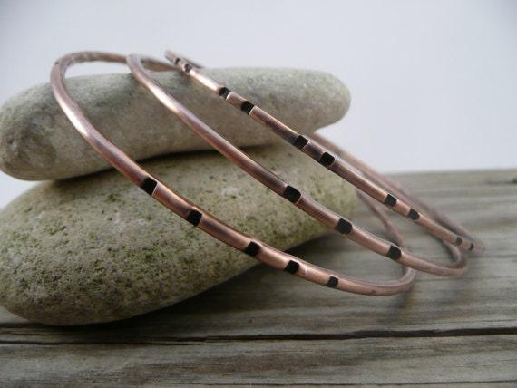 Copper Bangle, Stacking Bangle, Textured Bangle, Triple Bangle Set, Earthy Organic Style, Copper, Handmade, Metalsmith Jewelry