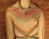 1970s Debbi Bee Pastel Chevron Belted Spring Dress