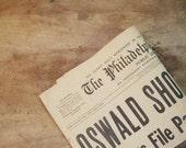 Three Vintage 1960s Newspapers - JFK Shot - Oswald Shot