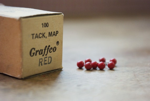 Vintage Red Map Tacks - 97 count