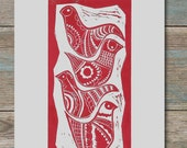 Four birds dressed in red - Limited edition Lino print