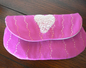Heart Shape Hot Pink Felted Clutch