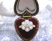 Vintage Diamond Daisy Ring Art Deco Design 18ct Gold Platinum 1.42ct