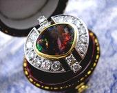 Antique Art Deco Lightning Ridge Opal Diamond Ring 18ct 18k Gold 1940s