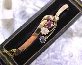 Antique Art Nouveau Victorian 15ct Gold Bangle Bracelet Ruby Diamond Sapphire