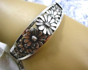 Antique Art Deco Solid Silver Cuff Bangle Bracelet Daisy Flowers 1930s