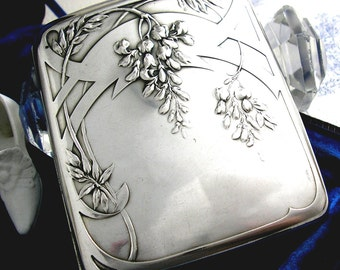 Antique Edwardian Art Nouveau Silver Cigarette Card Case Secessionist Offner