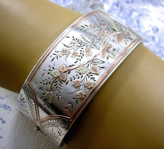 Antique Victorian Cuff Bangle Silver and Gold Bracelet Roses Flowers