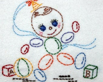 Vintage Baby Machine Embroidery Design 4x4 By