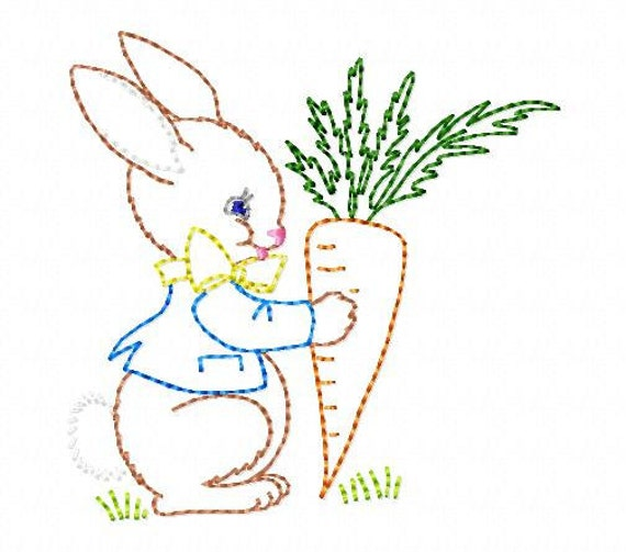 Bunny And Carrot Machine Embroidery Design 4x4 Hoop Vintage