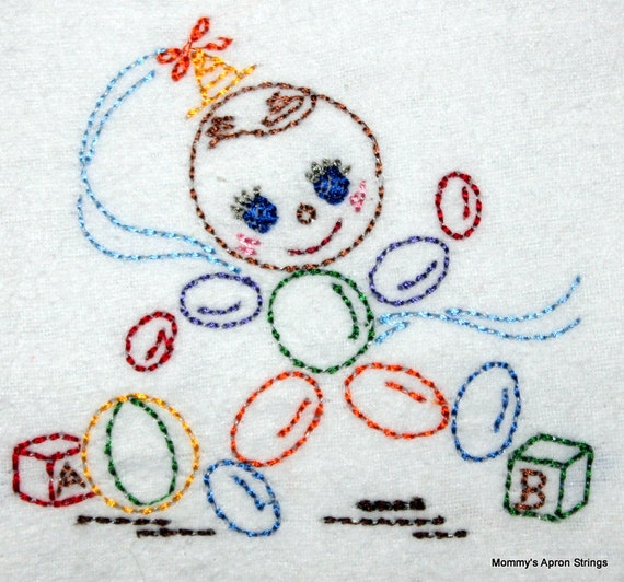 Vintage bead toy machine embroidery design by