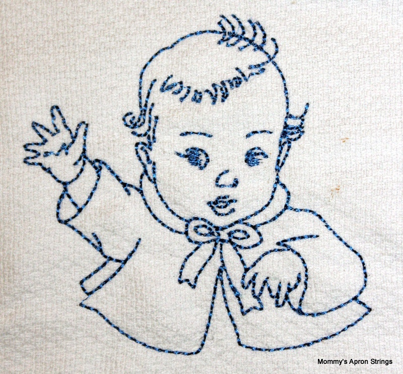 Vintage Baby Machine Embroidery Design 4x4 Hoop Vintage