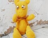 Handmade Yellow plush teddy bear. Teddy Bear