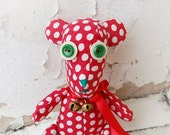 Funny kids toy, lot of  polka dots, organic handmade teddy bear red with white dots, OOAK personalized gift