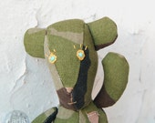 Funny army style teddy bear, toy for boys, dads, collectors, green camouflage textile