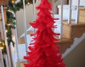 Beautifully Classic Red Feather Tree with Shimmery White Star Topper