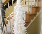 Beautifully Classic White Feather Tree with Shiny Red Finial