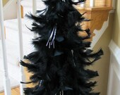 Whimsical Black Feather Tree with Shimmery Silver Star Topper & Shiny Silver Tinsel