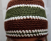 Handsome Green and Brown Men's Crocheted Beanie