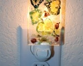Abstract  Aspen Leaves Fused Glass Night Light