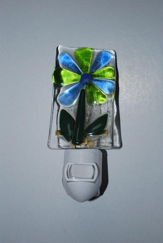 Flower  Fused Glass Night Light