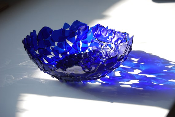 Upcycled Blue Beer  Bottle Bowl